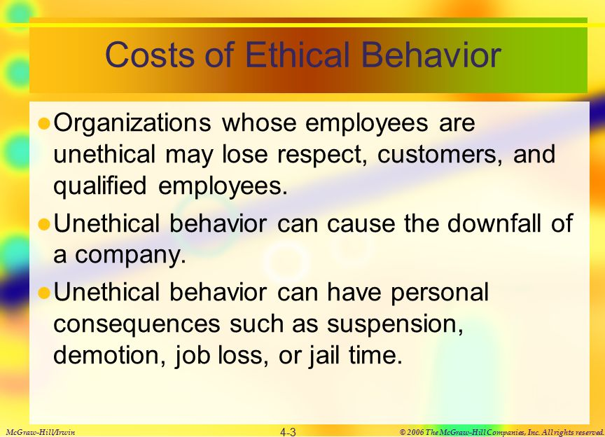 Ethics in the workplace ppt video online download costs of ethical behavior publicscrutiny Image collections