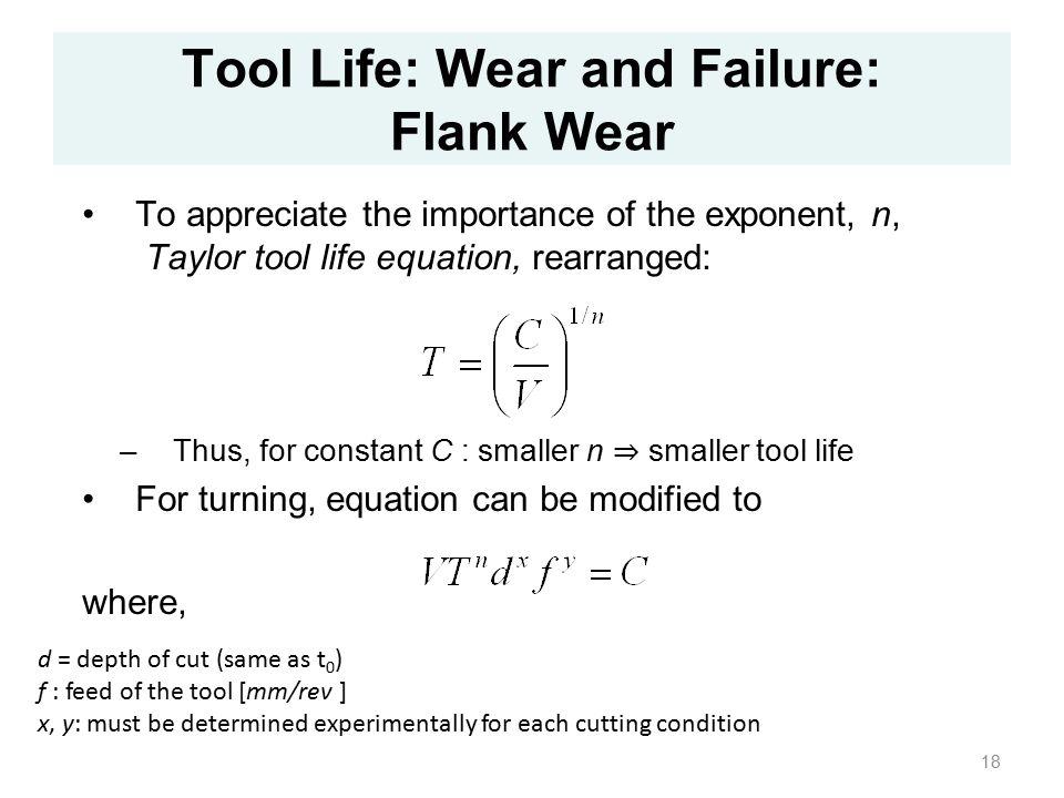 taylor tool life equation pdf