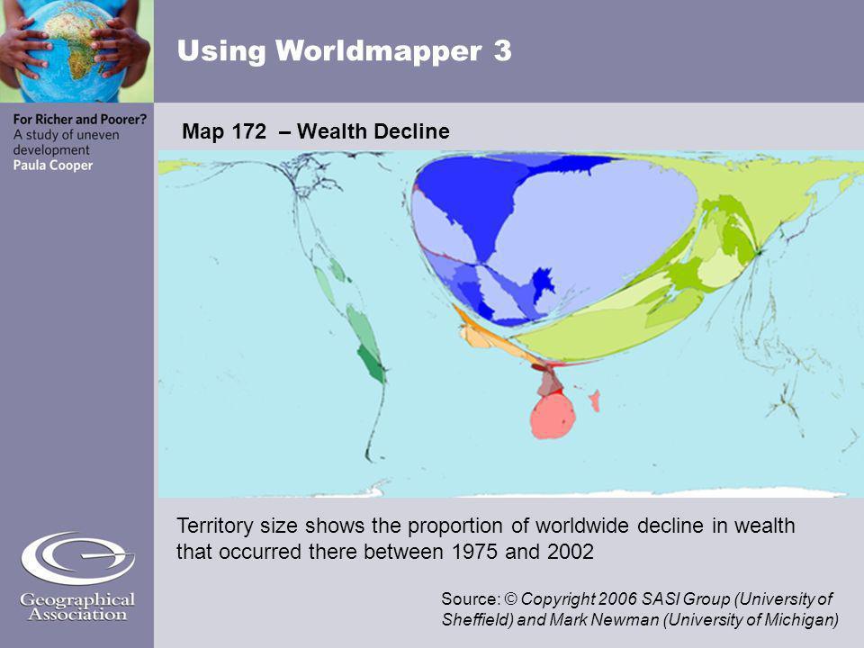 Using Worldmapper 3 Map 172 – Wealth Decline