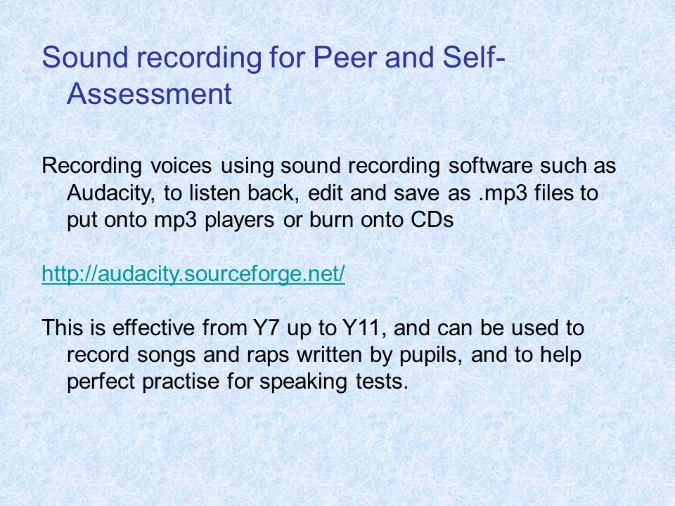 Sound recording for Peer and Self-Assessment
