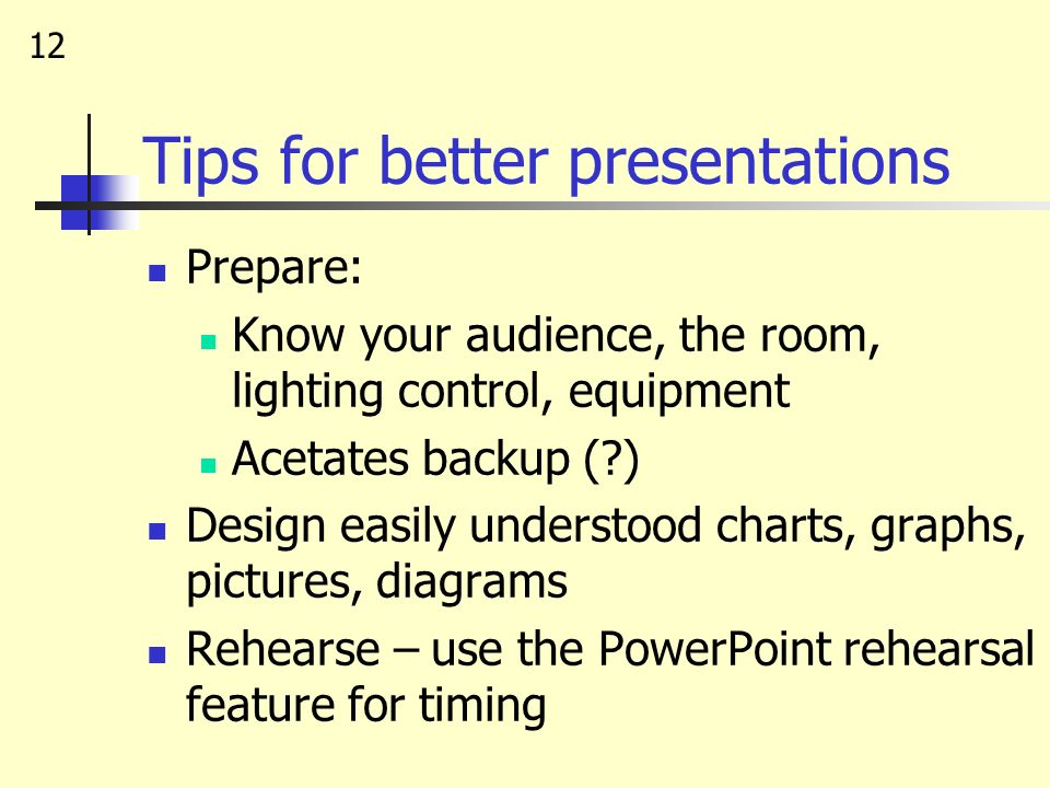 Tips for better presentations