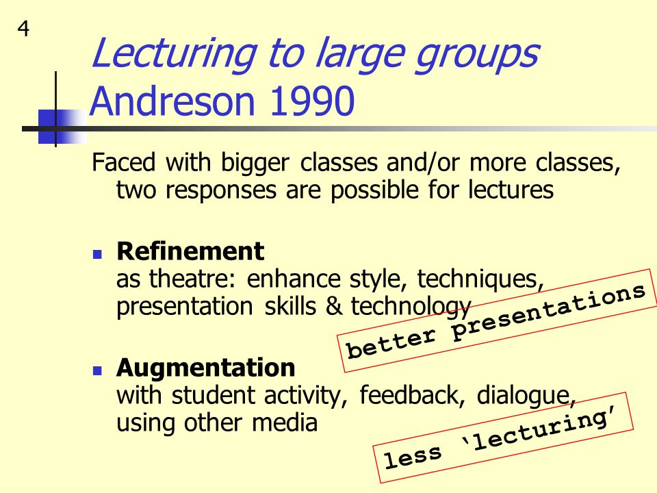 Lecturing to large groups Andreson 1990