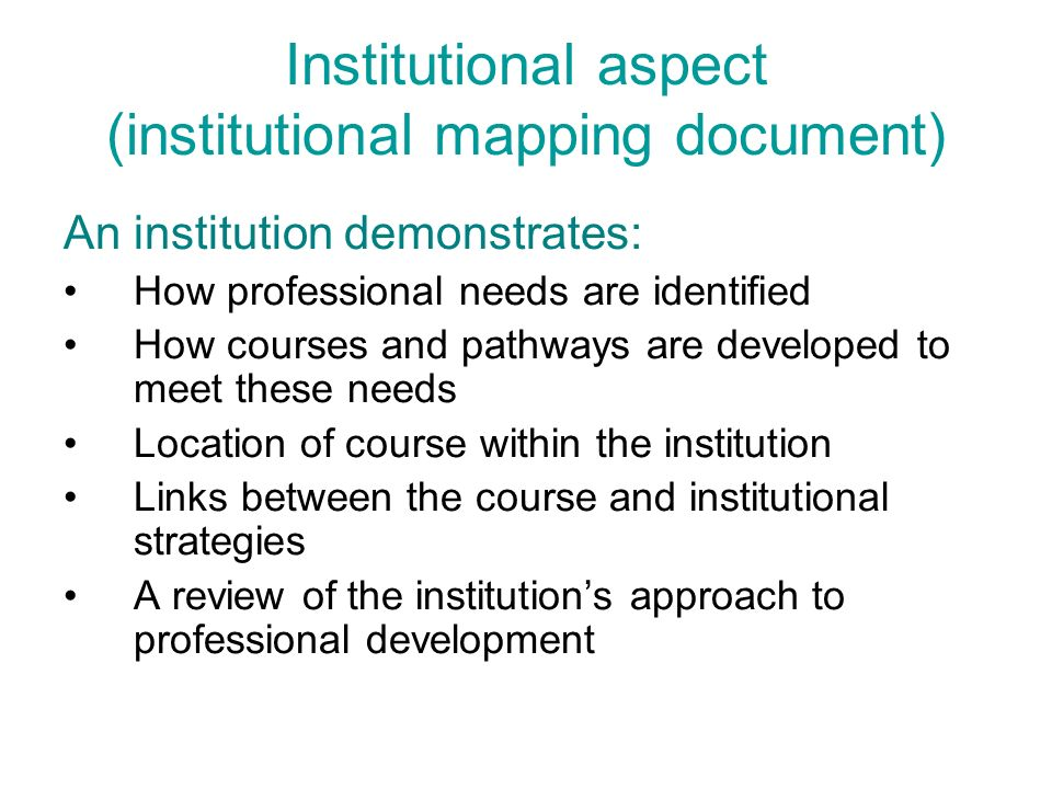 Institutional aspect (institutional mapping document)