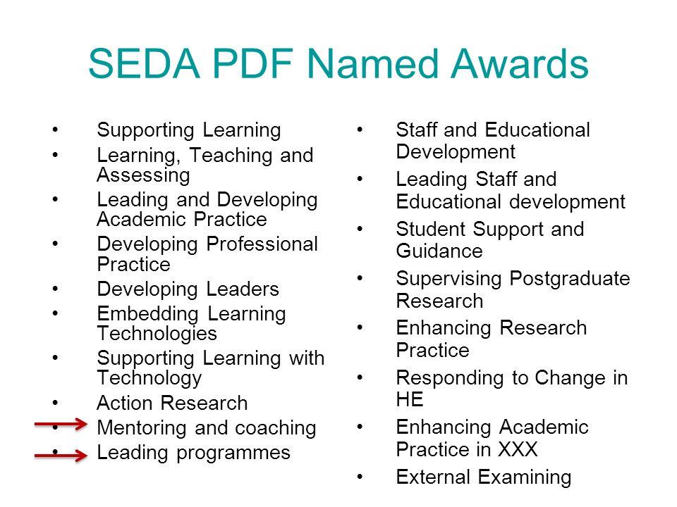 SEDA PDF Named Awards Staff and Educational Development