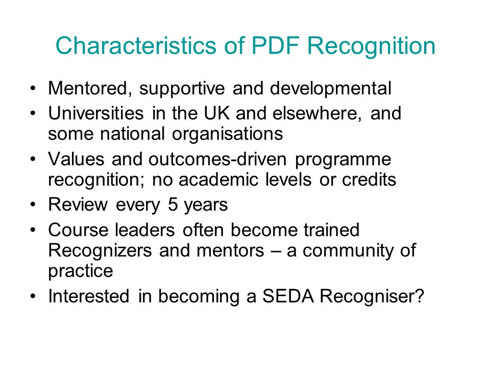 Characteristics of PDF Recognition