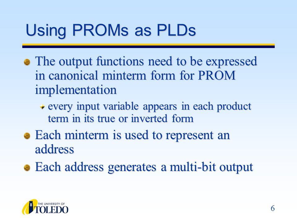 Using PROMs as PLDs The output functions need to be expressed in canonical minterm form for PROM implementation.