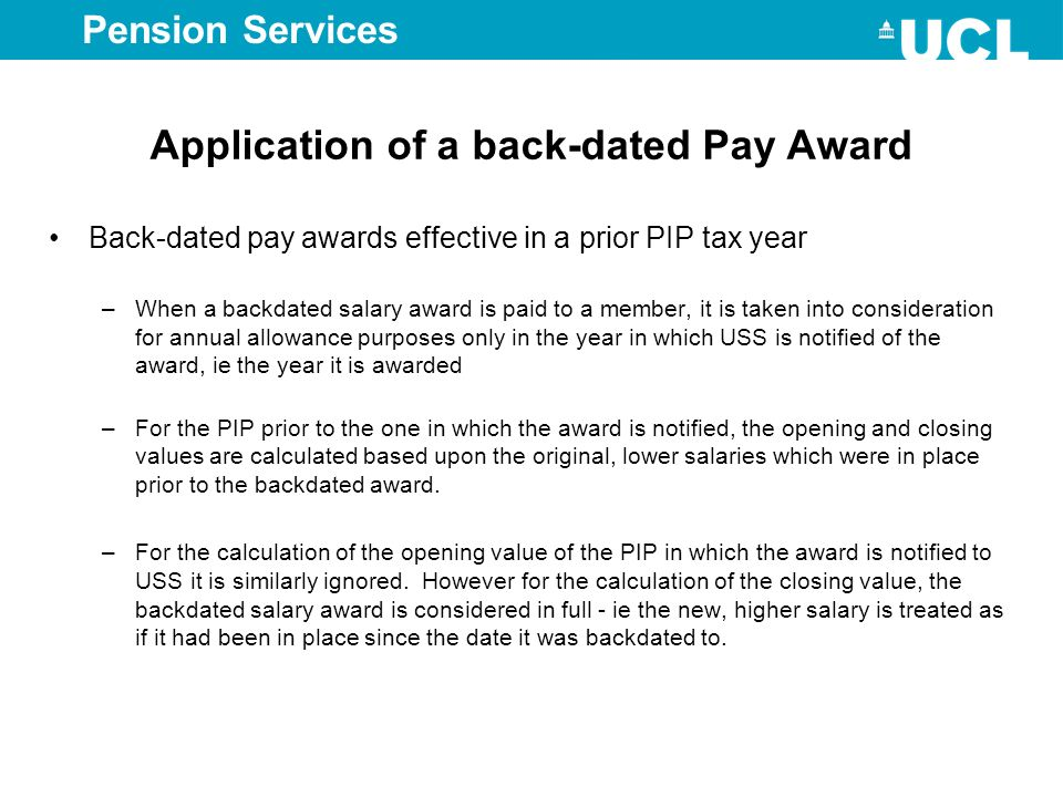 Application of a back-dated Pay Award