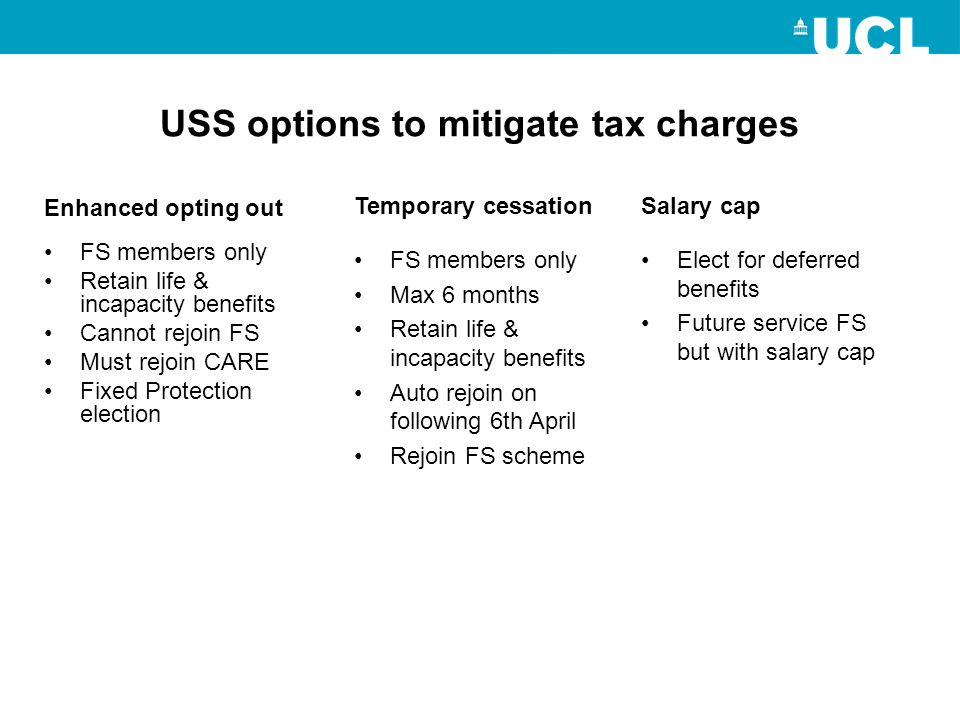 USS options to mitigate tax charges