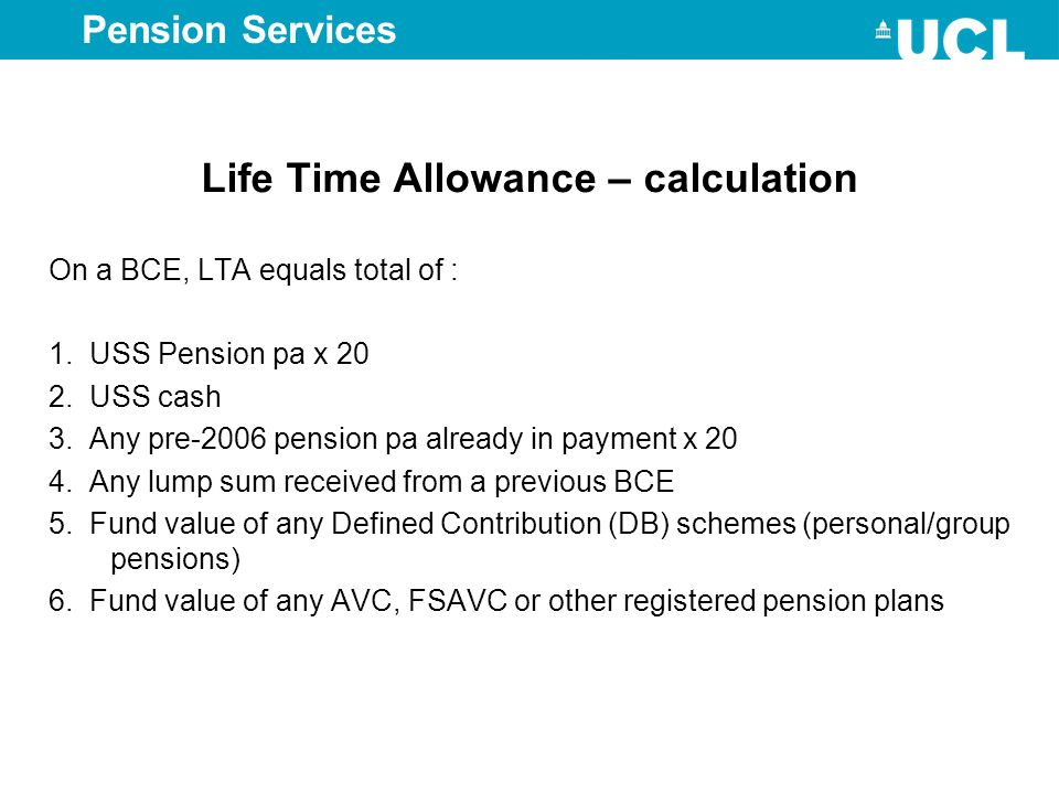 Life Time Allowance – calculation