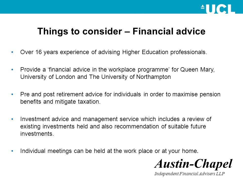 Things to consider – Financial advice