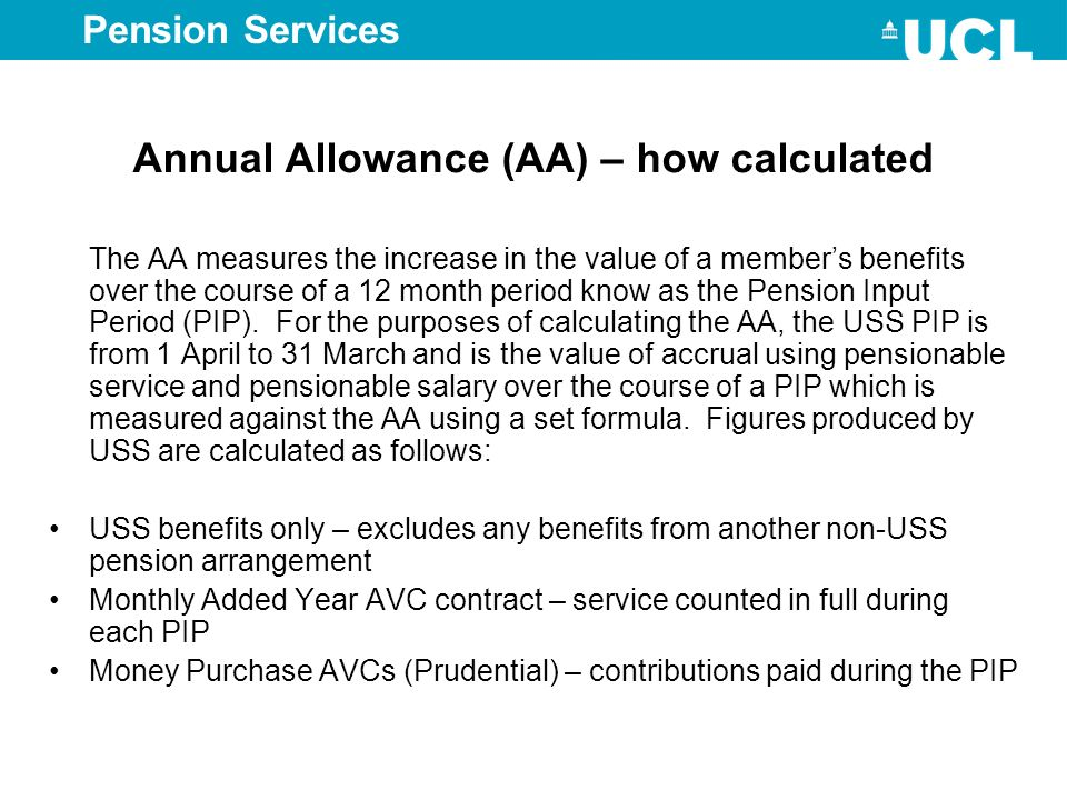 Annual Allowance (AA) – how calculated