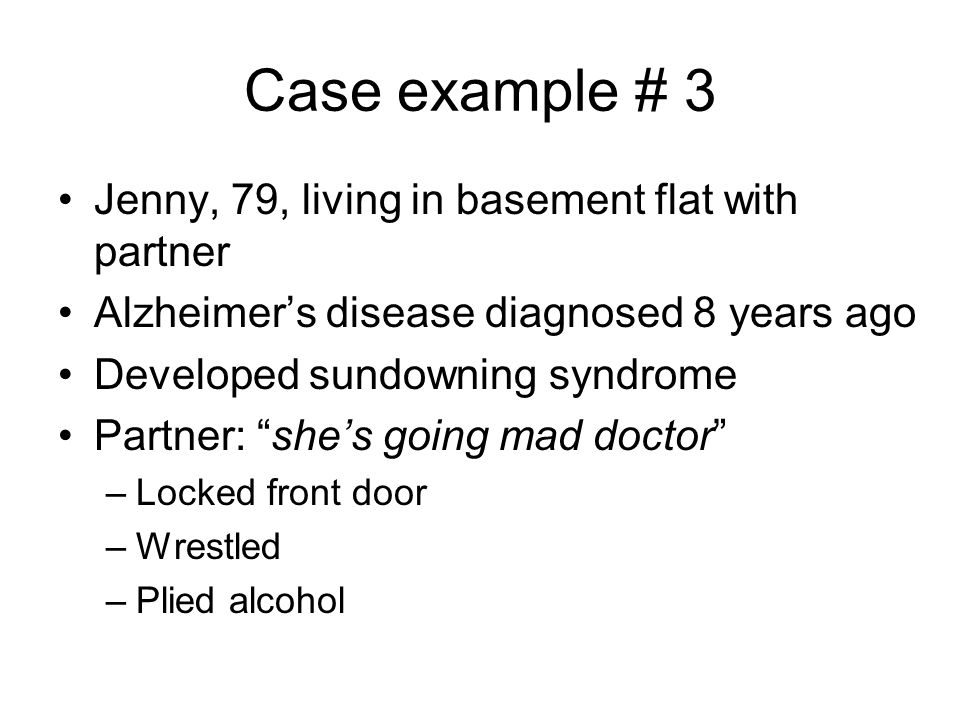 Case example # 3 Jenny, 79, living in basement flat with partner