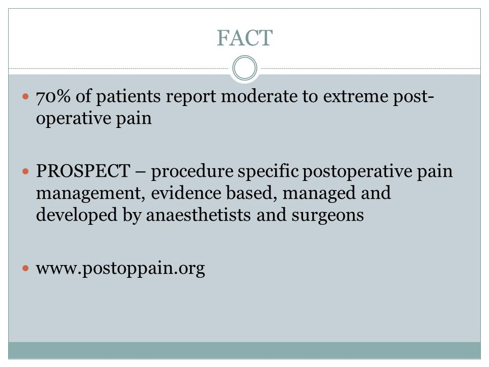 FACT 70% of patients report moderate to extreme post-operative pain