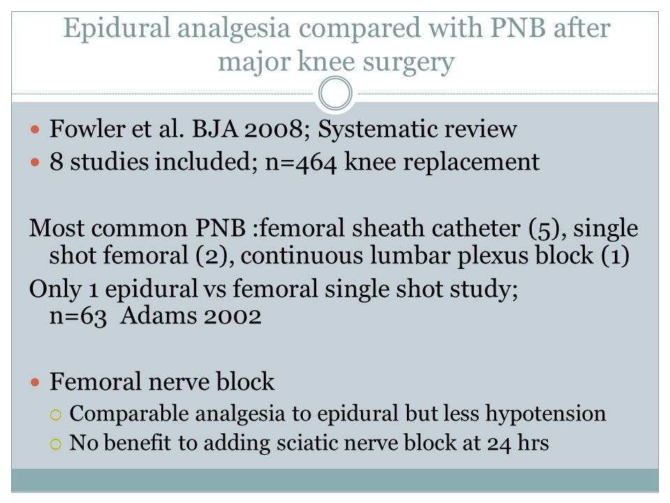 Epidural analgesia compared with PNB after major knee surgery