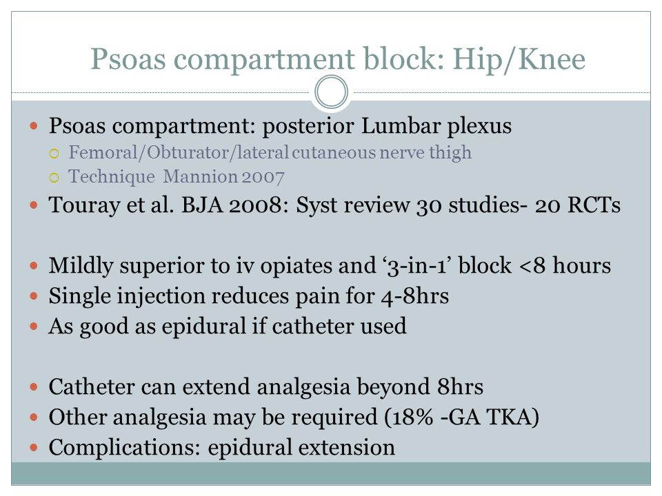 Psoas compartment block: Hip/Knee