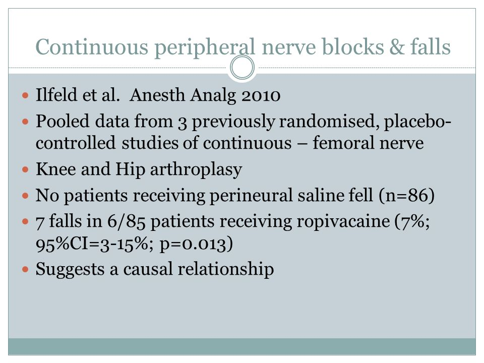 Continuous peripheral nerve blocks & falls