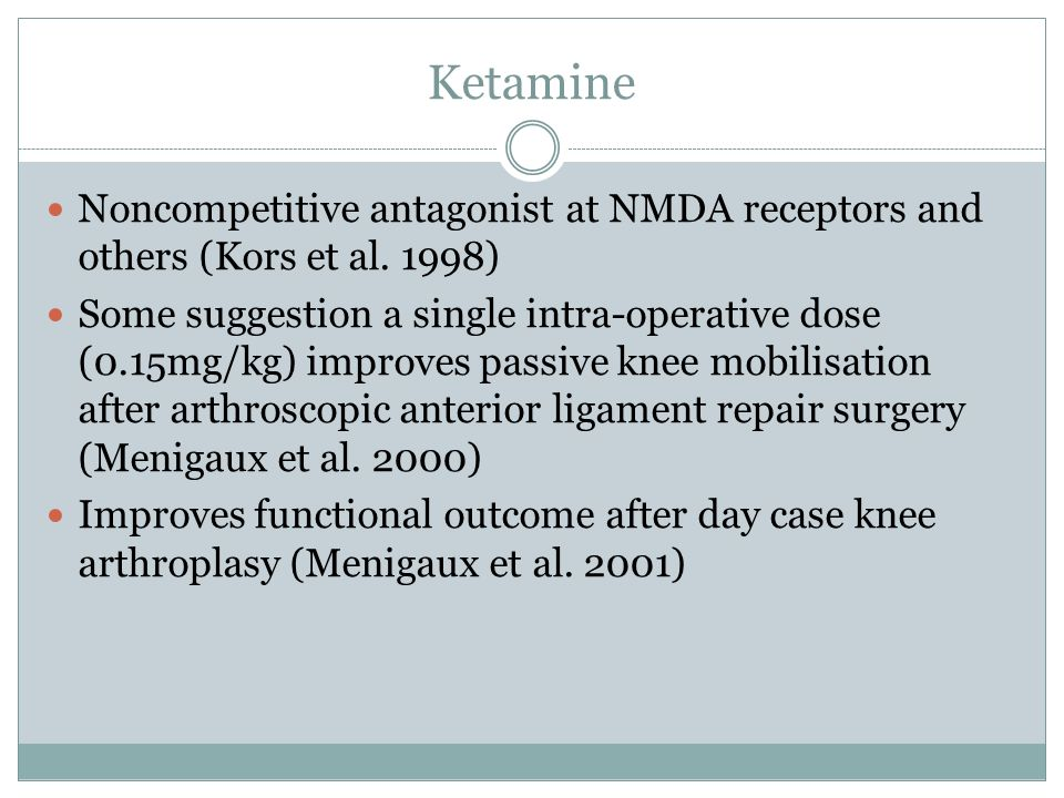 Ketamine Noncompetitive antagonist at NMDA receptors and others (Kors et al. 1998)