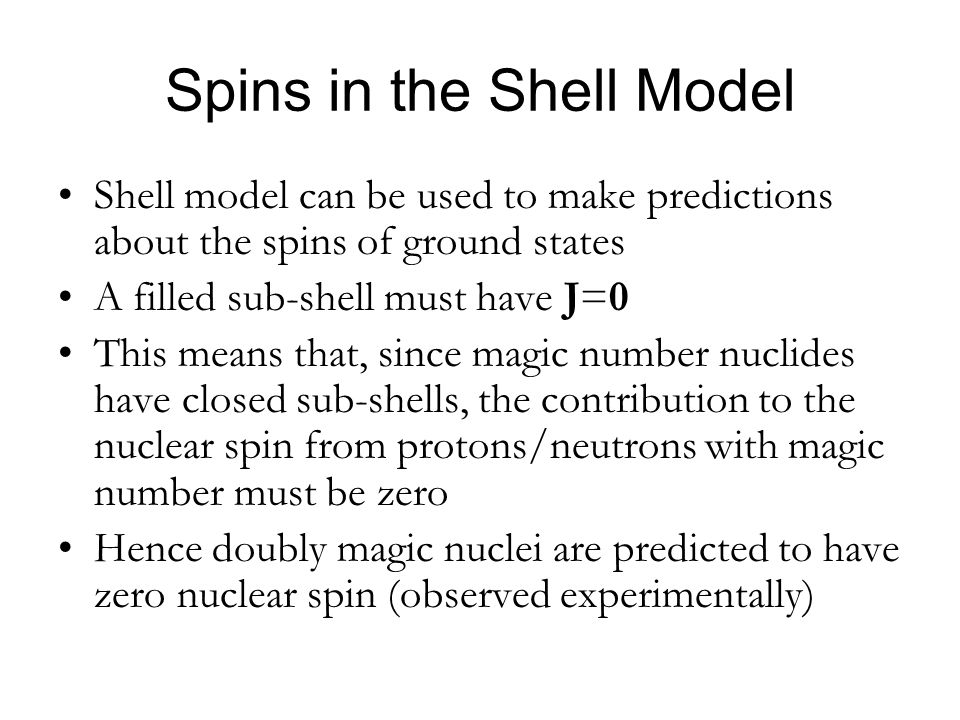 Spins in the Shell Model