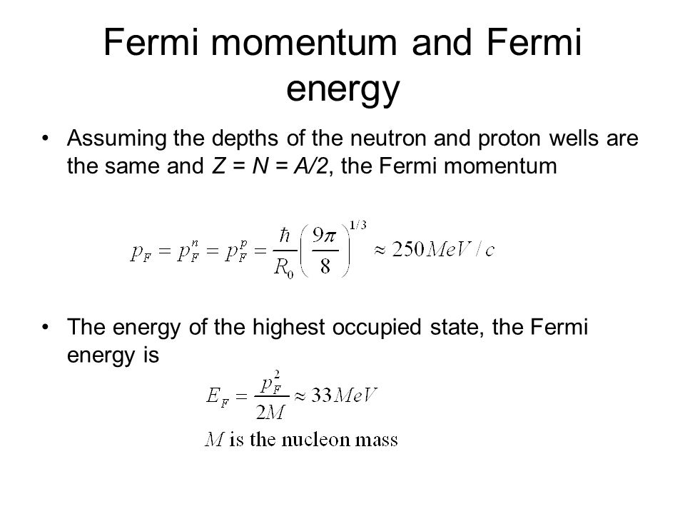 Fermi momentum and Fermi energy
