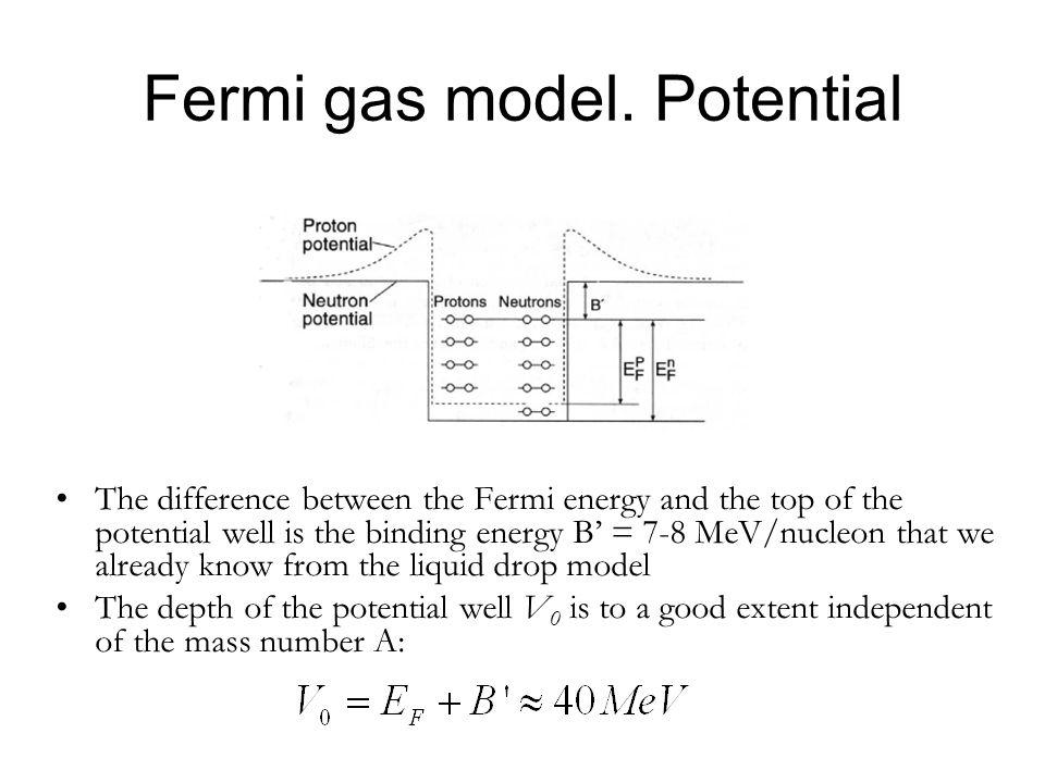 Fermi gas model. Potential