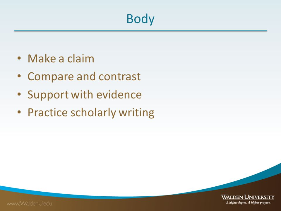 Compare and contrast essay claims