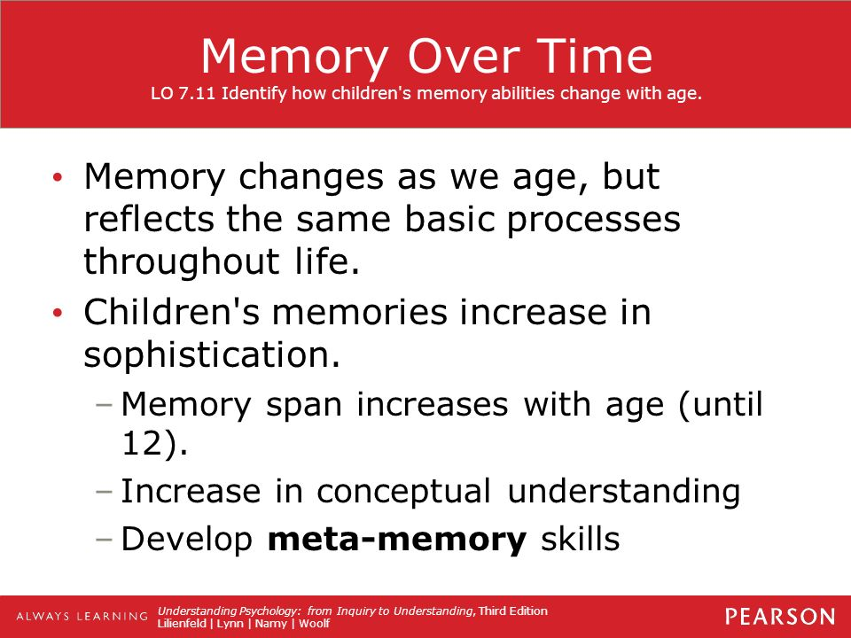 is your memory changing with age Nerd alert neurosynthesis occurs throughout your life, no matter what age use it or lose it is a real factor, so memory can be enhanced into the late stages of life just keeping using your memory.
