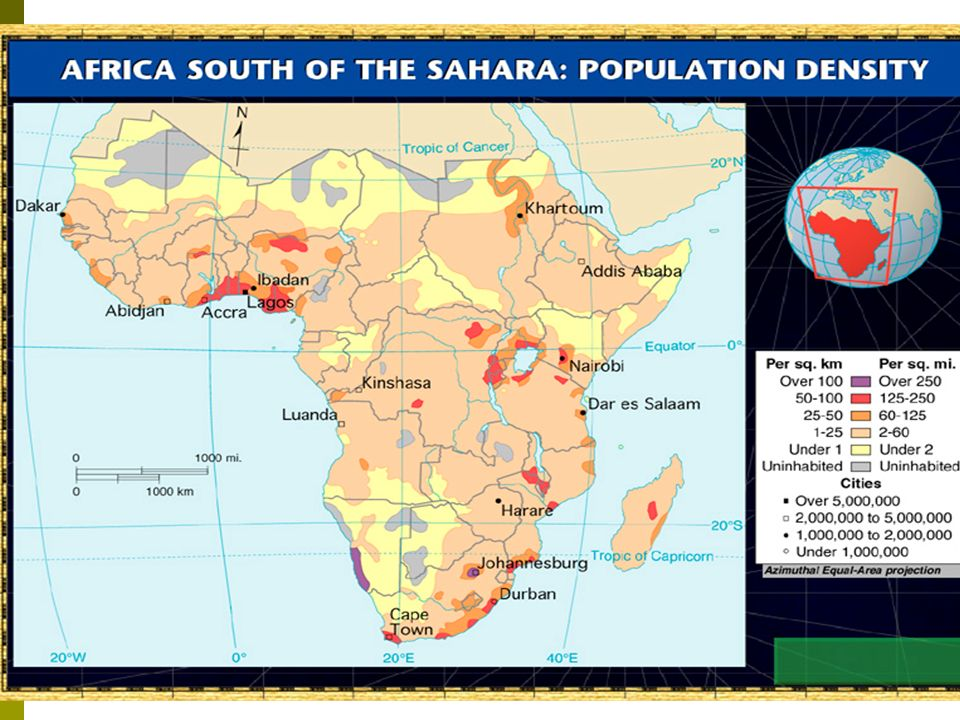 The cultural geography of africa south of the sahara ppt download 4 distribution of population sciox Gallery