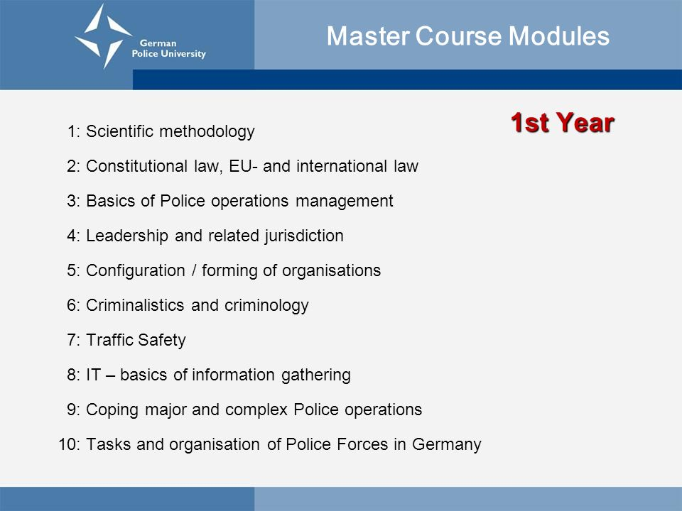 Master Course Modules 1st Year 1: Scientific methodology