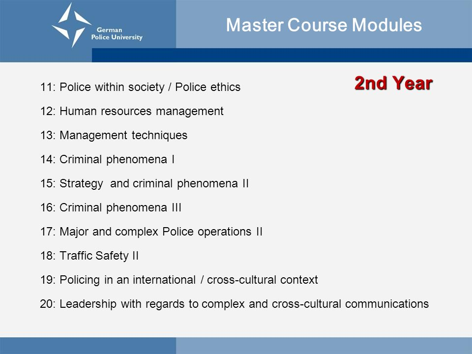 Master Course Modules 2nd Year