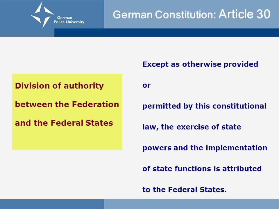 German Constitution: Article 30