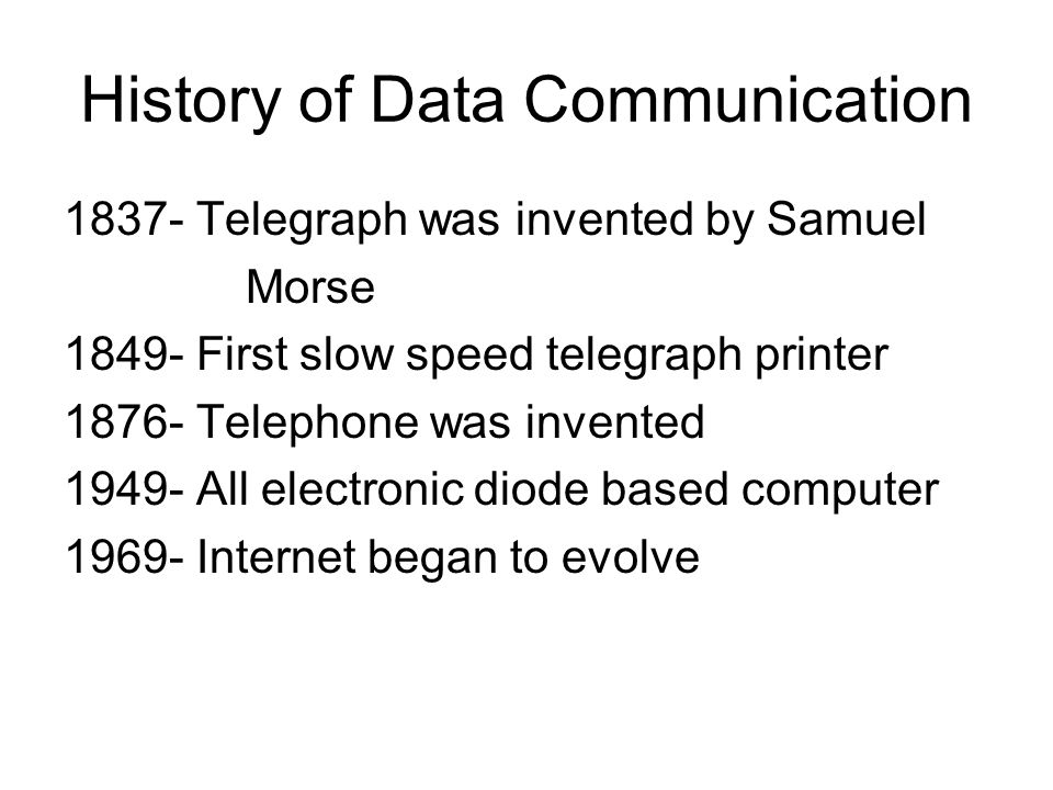 history of data communication Information technology - applications and implications of information and communication technology associated files with this video can be found on: question.