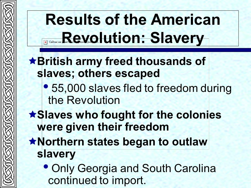 how did the american revolution impact slavery African americans' quest for freedom during the (analyze the social and economic impact of the revolutionary did the american revolution liberate enslaved.