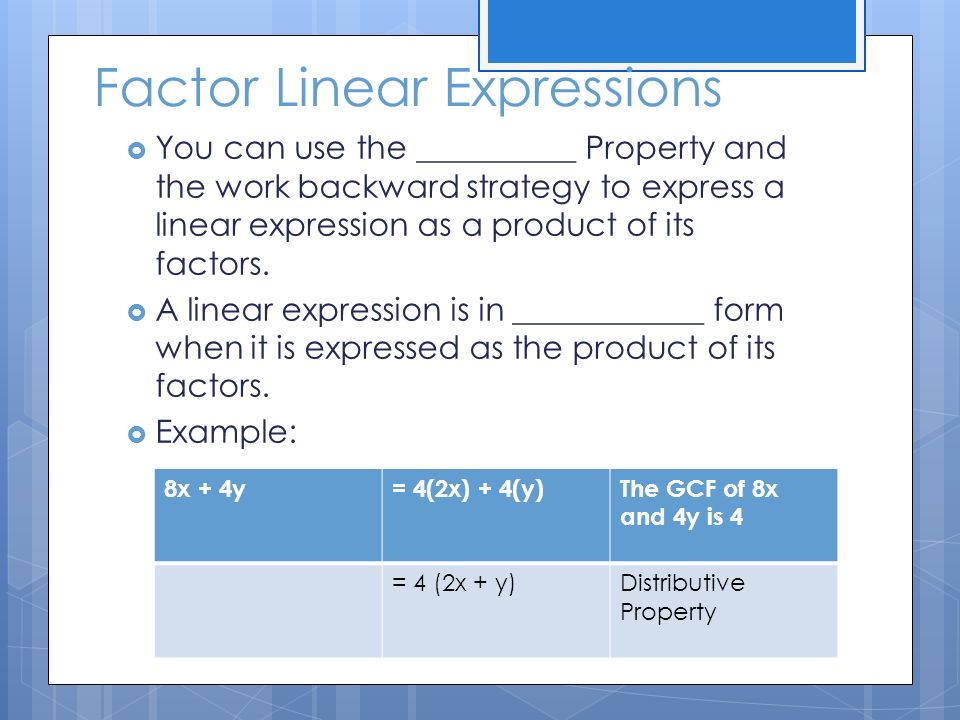 Factoring expressions - ppt download