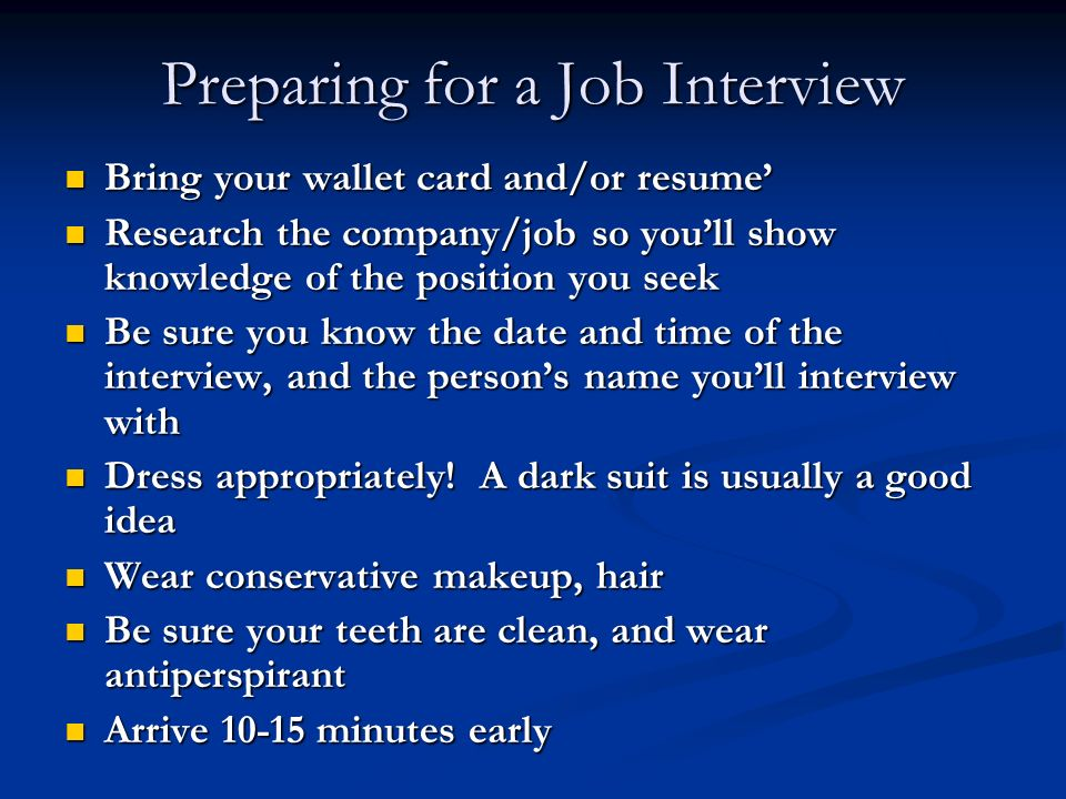 how to prepare for a job interview the night before