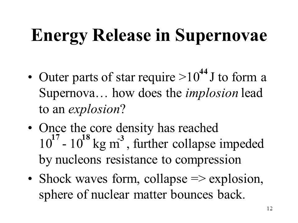 Energy Release in Supernovae