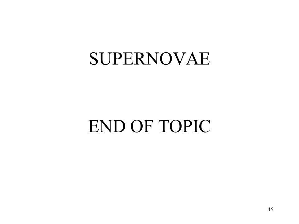 SUPERNOVAE END OF TOPIC