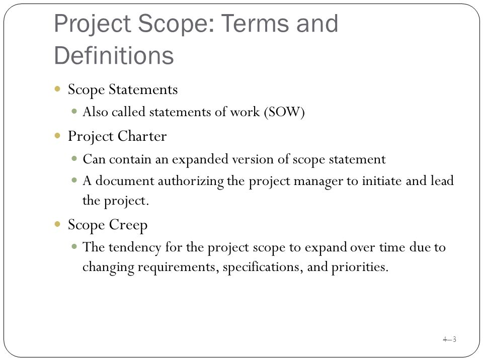 defining project scope What is scope in project management what does scope mean in project management first off, scope can refer to either product scope or project scope it.