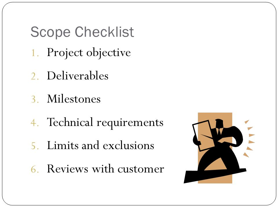 project scope checklist limitations and exclusions of a project Project management by gary and larson  project scope checklistproject scope checklistproject scope  limits and exclusions 6 reviews.