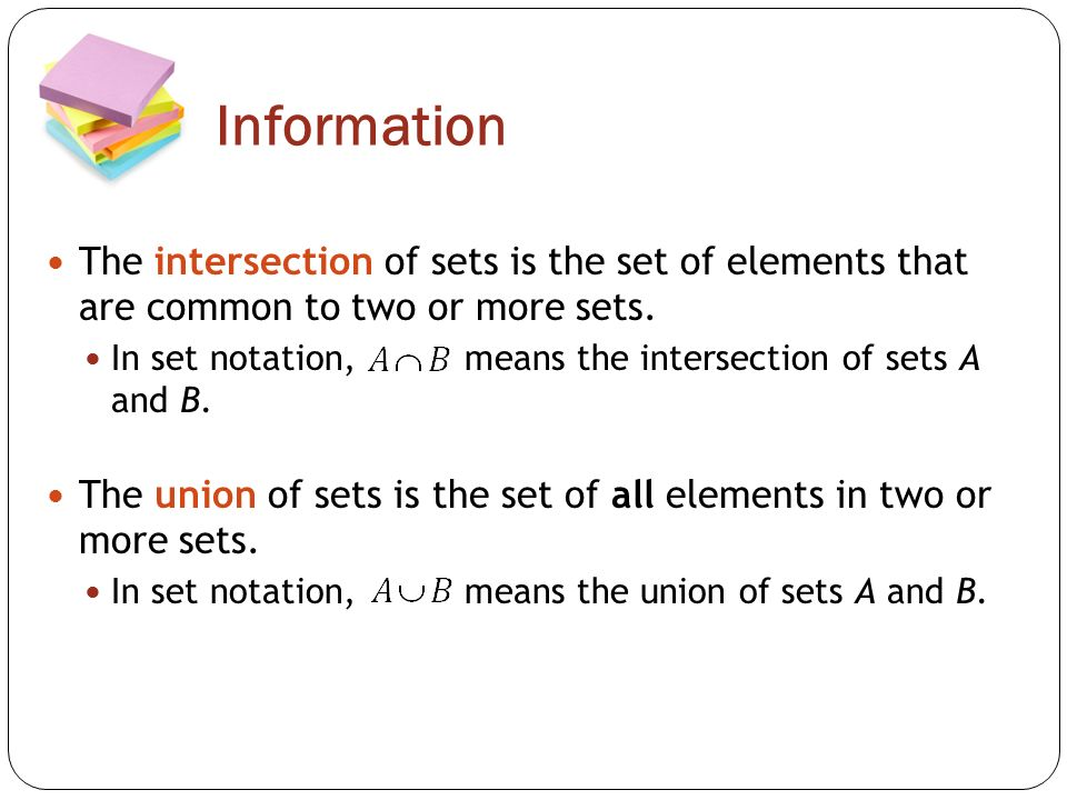 List Of Synonyms And Antonyms Of The Word Intersection And Union