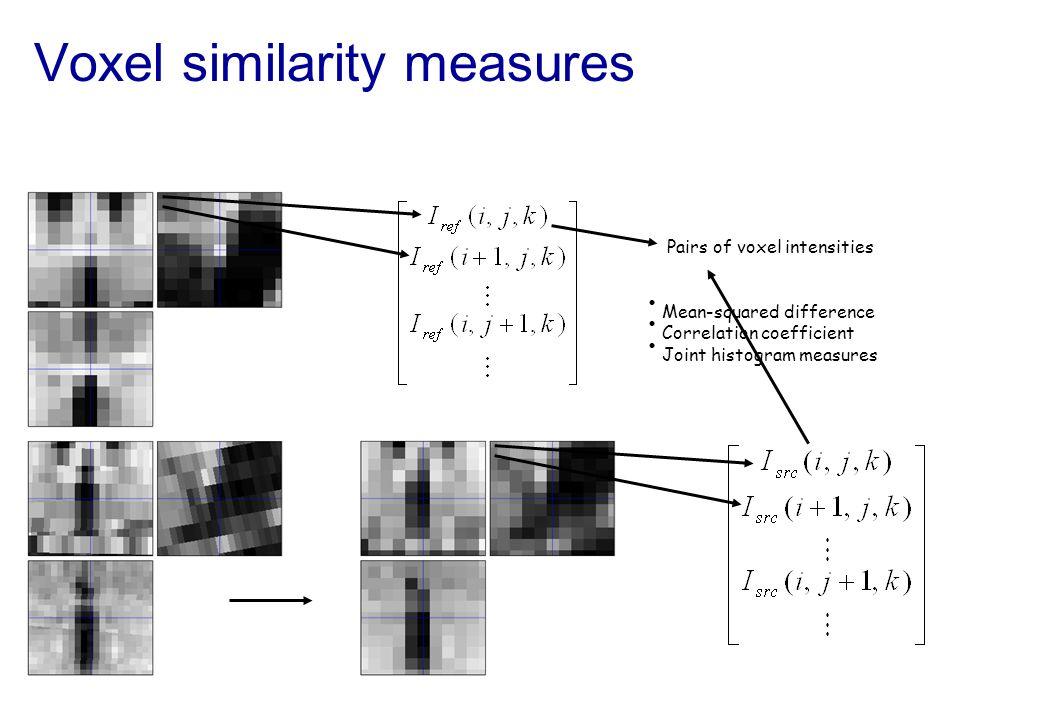 Voxel similarity measures