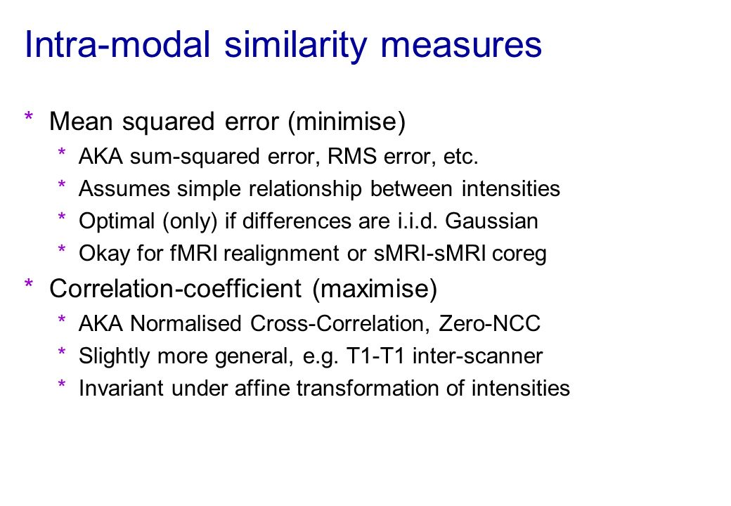 Intra-modal similarity measures