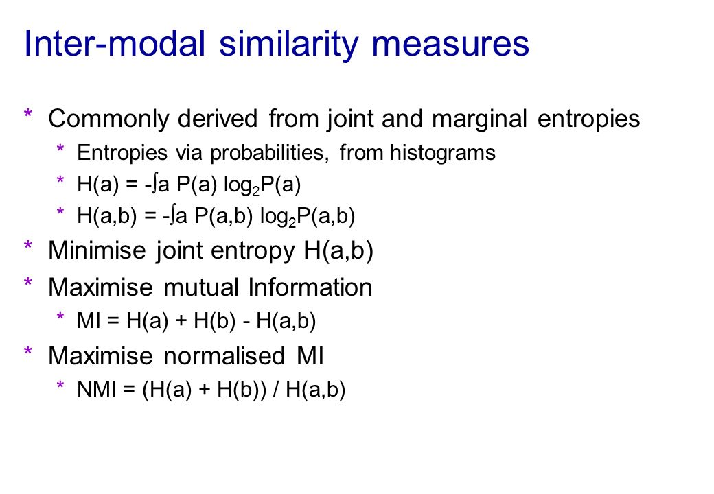 Inter-modal similarity measures