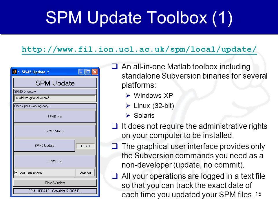 SPM Update Toolbox (1) http://www.fil.ion.ucl.ac.uk/spm/local/update/
