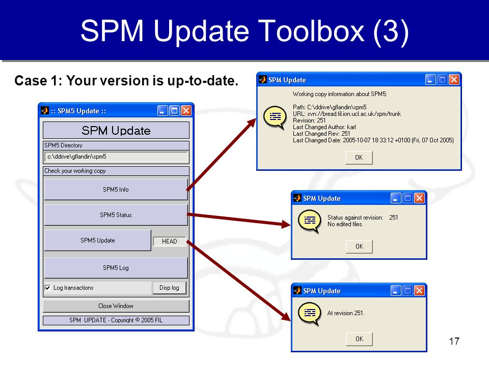 SPM Update Toolbox (3) Case 1: Your version is up-to-date.