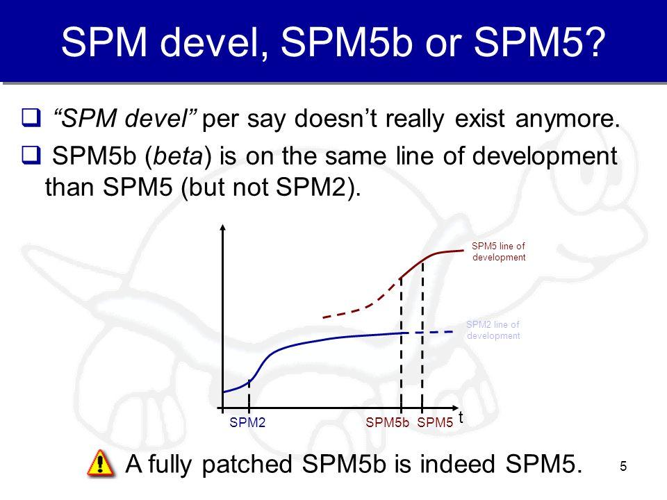 SPM devel, SPM5b or SPM5 SPM devel per say doesn't really exist anymore.