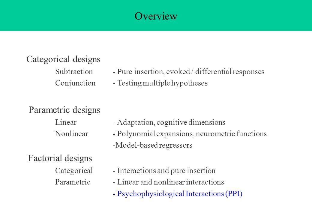 Overview Categorical designs Parametric designs