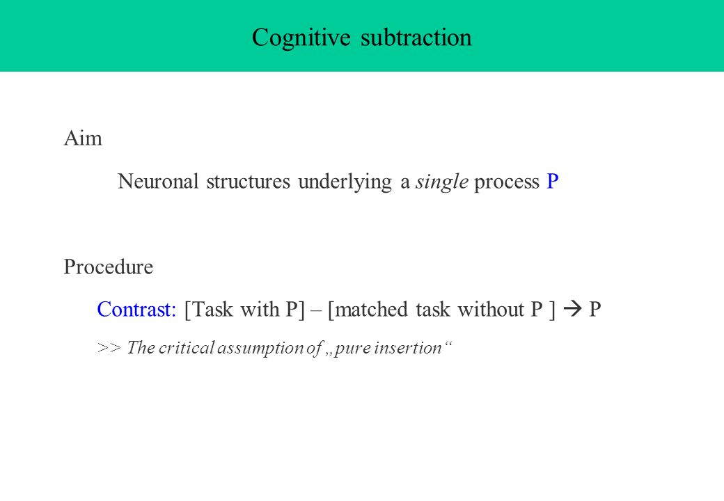 Cognitive subtraction
