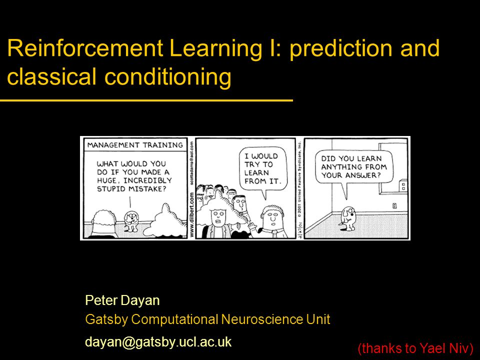 Reinforcement Learning I: prediction and classical conditioning
