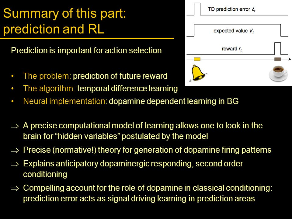 Summary of this part: prediction and RL