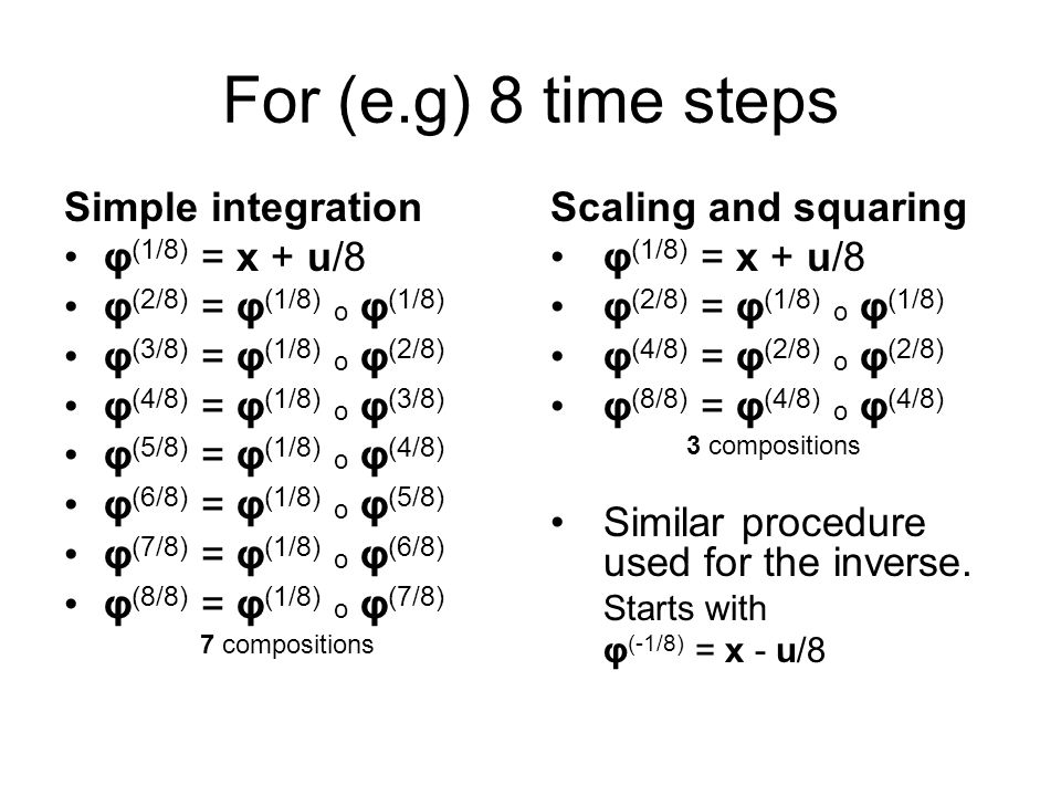 For (e.g) 8 time steps Simple integration φ(1/8) = x + u/8